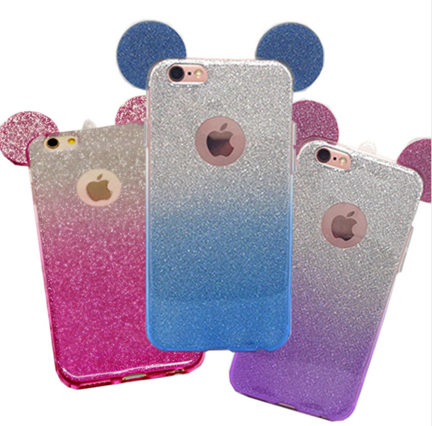 iphone SE iphone 5 6 S Plus Bling Mouse Ear Case Rhinestone Phone ... 24285ac28
