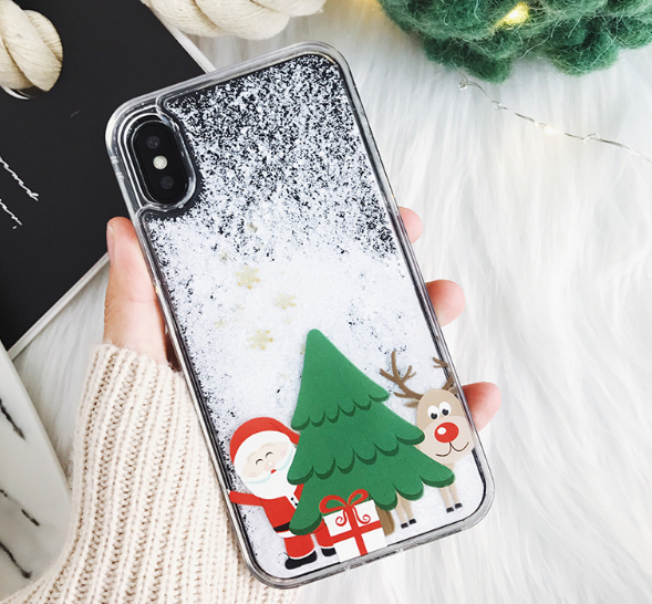 christmas gift iphone x cases snowman liquid quicksand cover for iphone 6s 7 8 plus x