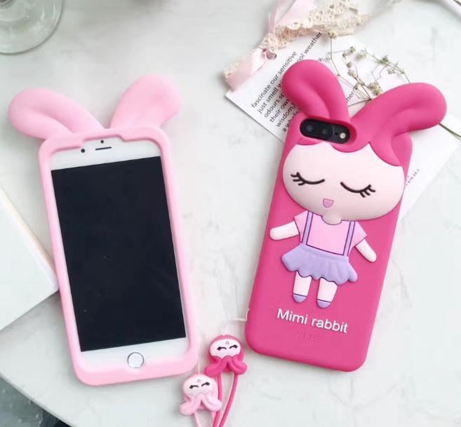 innovative design 29984 73698 Cute iPhone X Rabbit Girl Cases For iPhone 7 8 plus Cartoon Covers