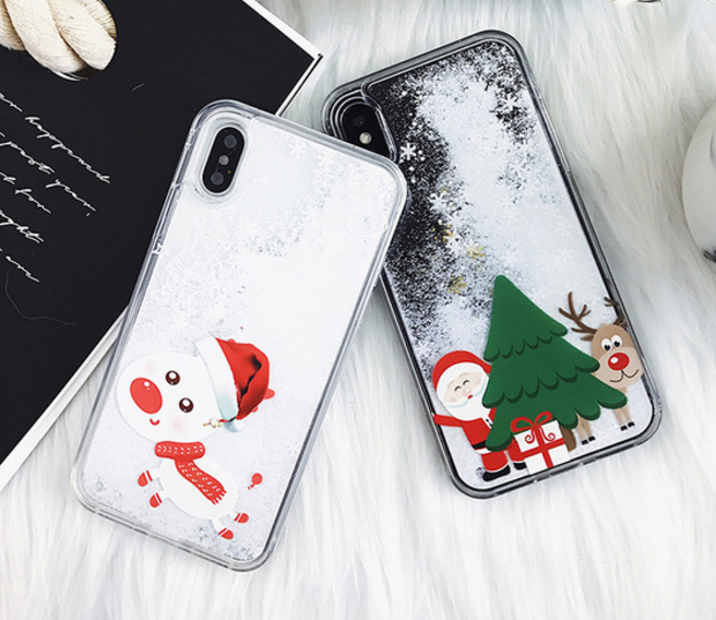 Christmas Iphone X Case.Christmas Gift Iphone X Cases Snowman Liquid Quicksand Cover
