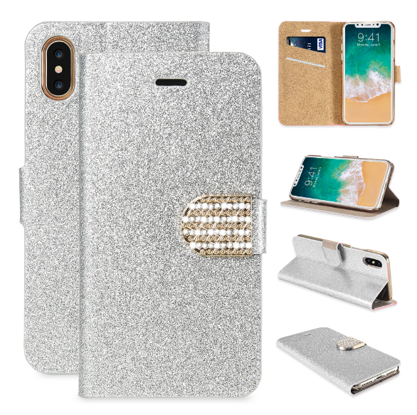 hot sale online 82f4c b10bf iPhone X 8 Plus Bling Wallet Cases For iPhone 6S 7 8 Plus Glitter Pu ...
