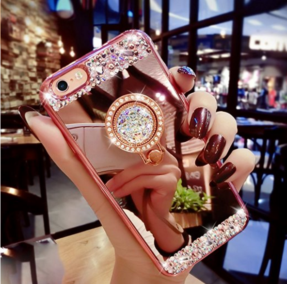 Mirror Makeup iPhone 8 7 Plus Bling Bumper Cases Glitter Rhinestone Case with Ring Stand For iPhone 6S 7 Plus Diamond Phone Cases
