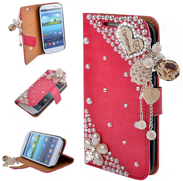 new concept 52fe7 1c3d3 Pink Glitter loving heart PU Leather Wallet Cases For iPhone 5S SE ...
