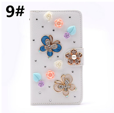 Diamond Bowknot Flower Wallet Case Luxury Stand Flip Leather Cover