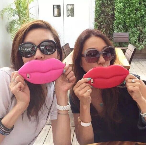 Fashion 3D Sexy Mouth big red lip soft Gel Silicone Cover Case for
