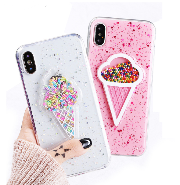 Glitter Dynamic Ice Cream Iphone X Xs Xr Case For Girls Iphone Xs Max Case Cover For Iphone 6s 7 8 Plus